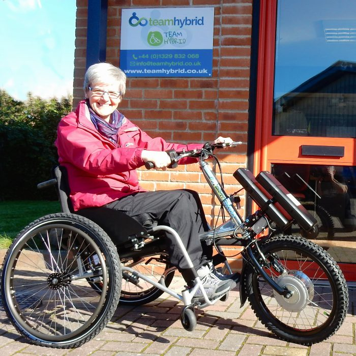 Sandra Wheatley collecting her Viper Classic power cycle